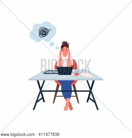 Stressed Woman At Workplace Flat Color Vector Detailed Character. Overworked And Tired Female Employ