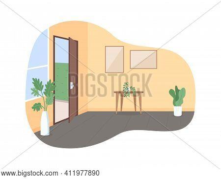 Home Hall With Open Door 2d Vector Web Banner, Poster. Corridor With Entryway. House Room Interior F