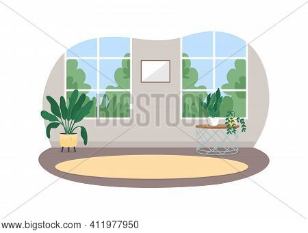 Room Interior 2d Vector Web Banner, Poster. Carpet On Floor. Indoor Living Space With No People Flat