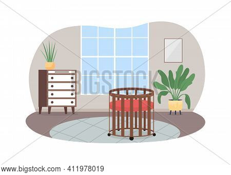 Nursery 2d Vector Web Banner, Poster. Baby Crib. Living Room With Carpet On Floor. Cosy Home Flat Sc