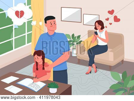 Infidelity Problem In Family Flat Color Vector Illustration. Woman Chatting On Mobile Phone. Jealous