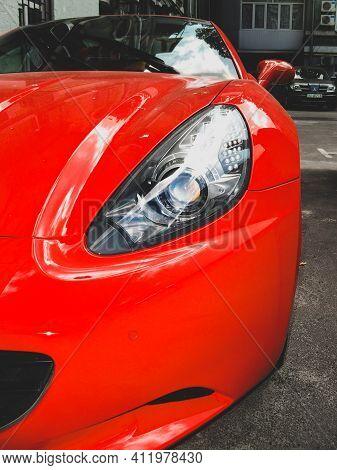 Kiev, Ukraine - May 14, 2011: Red Ferrari California Supercar Parked In The Yard