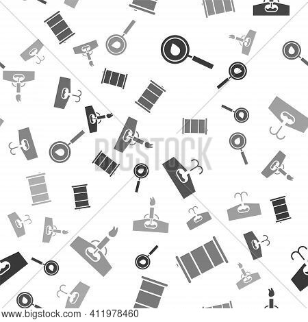 Set Oil Drop, Barrel Oil, Oilfield And Oil Rig With Fire On Seamless Pattern. Vector