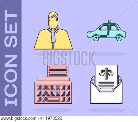 Set Subpoena, Lawyer, Attorney, Jurist, Retro Typewriter And Police Car And Flasher Icon. Vector
