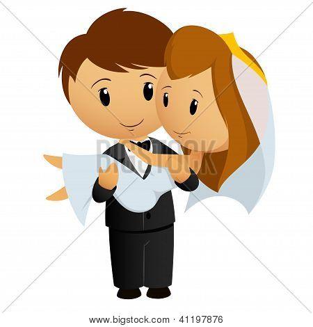 Cartoon Groom Carrying Bride