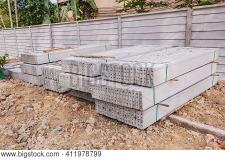 Stack Of Precast Concrete Wall Panels Before Installation