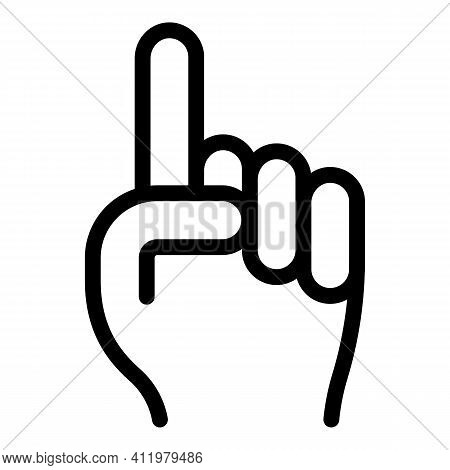 Hand Gesture Attention Icon. Outline Hand Gesture Attention Vector Icon For Web Design Isolated On W