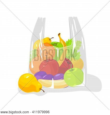 Eco Bag Full Of Fresh Mellow Fruits And Vegetables. Vector Vitaminized Set Of Summer Ripe Pear, Appl