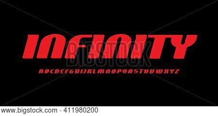 Red Futuristic Letter On Black Background. Infinity Space Style Font, Condensed Italic Type For Spor