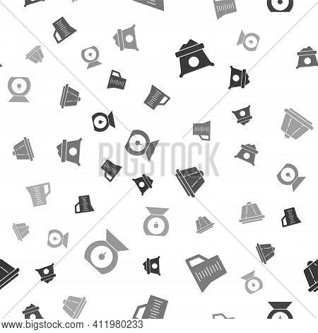 Set Bag Of Flour, Measuring Cup, Pudding Custard And Scales On Seamless Pattern. Vector