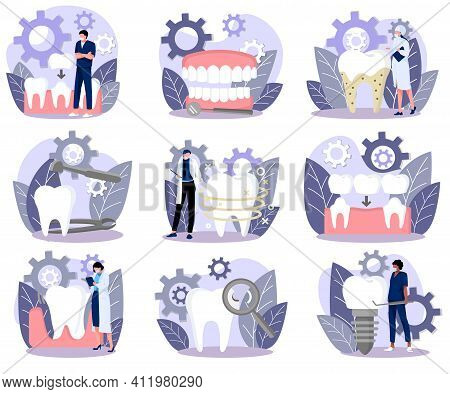 Tiny Doctors Treating Giant Teeth Set. Dentist Characters Caring Of Tooth Using Professional Tools A