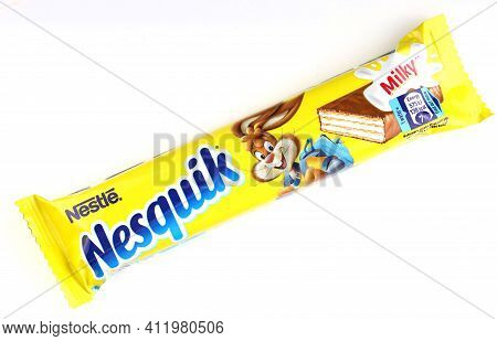 Lviv, Ukraine - April 27, 2020: Nesquik Chocolate Waffles In Yellow Packaging