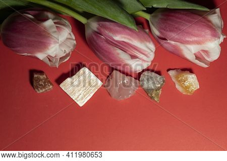 On A Red Background, There Are Three Pink Tulips And Semi-precious Stones Halite, Red Gypsum, Rose Q