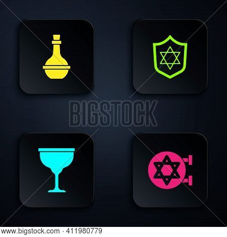 Set Jewish Synagogue, Wine Bottle, Goblet And Shield With Star Of David. Black Square Button. Vector