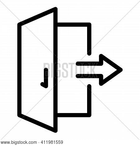Exit Door Interface Icon. Outline Exit Door Interface Vector Icon For Web Design Isolated On White B