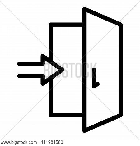Enter Door Interface Icon. Outline Enter Door Interface Vector Icon For Web Design Isolated On White
