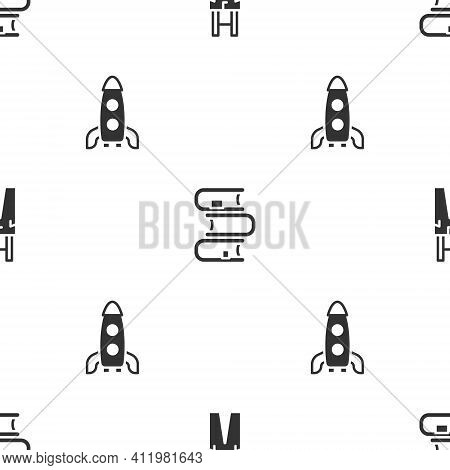 Set Pants With Suspenders, Book And Rocket Ship On Seamless Pattern. Vector
