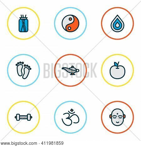 Meditation Icons Colored Line Set With Feet, Hinduism, Lamp And Other Tao Elements. Isolated Vector