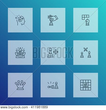 Game Icons Line Style Set With Play, Pawn Beats Pawn, Pawn Multiple Directions And Other Playing Ele
