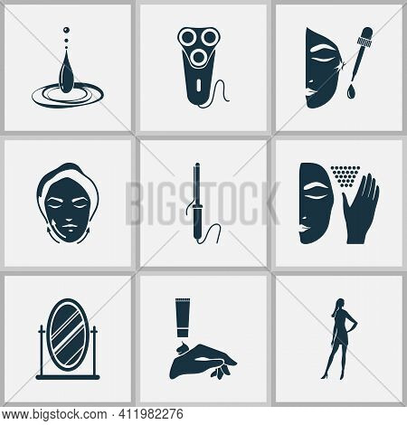 Beautiful Icons Set With Mirror, Face Lifting, Water Drop And Other Curler Elements. Isolated Vector