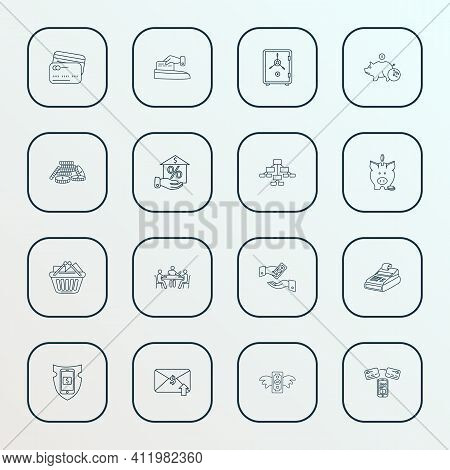 Financial Icons Line Style Set With Get Payment, Deposit, Safe And Other Earnings Elements. Isolated