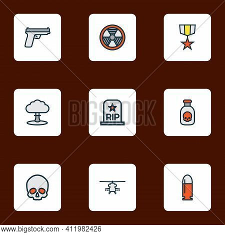 Battle Icons Colored Line Set With Poison, Medal, Bio Hazard And Other Radioactive Elements. Isolate