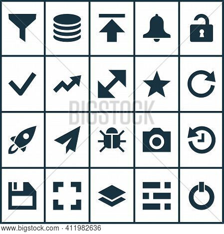 Interface Icons Set With Bug, Checkmark, Reload And Other Floppy Disk Elements. Isolated Vector Illu
