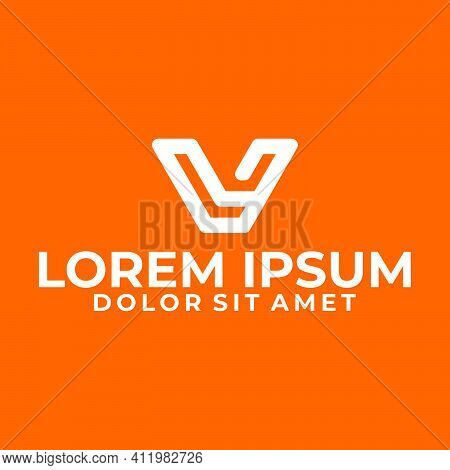 Initial Letter Lv Or Vl Logo Template With Modern Geometric Line Art Illustration In Flat Design Mon