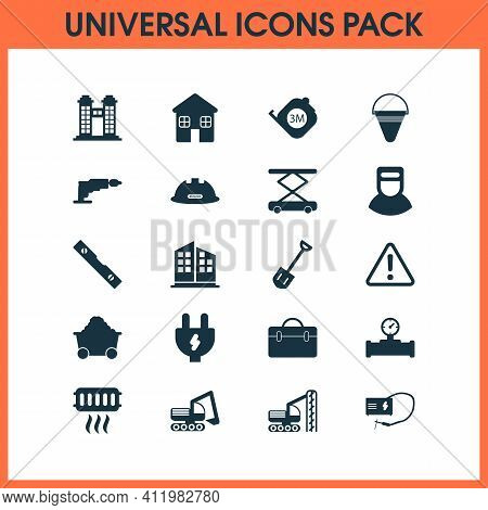 Industrial Icons Set With Shovel, Roulette, Trolley And Other Manometer Elements. Isolated Vector Il