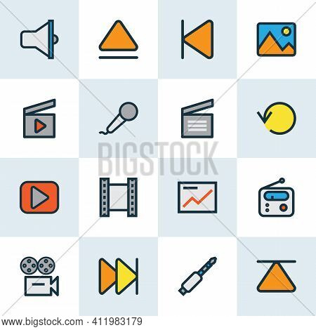 Multimedia Icons Colored Line Set With Movie Clap, Image, Replay And Other Forward Elements. Isolate