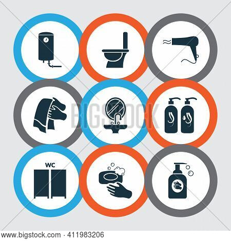 Bathroom Icons Set With Liquid Soap, Toilet, Water Heater And Other Hygiene Elements. Isolated Vecto