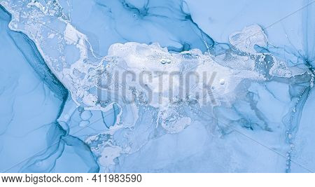 Ink Colours Mix. Art Wave Wallpaper. Blue Abstract Pattern. Ink Colours Mix Water. Snow Deep Effect.