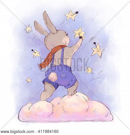 Funny Kids Illustration Little Rabbit Pins Stars
