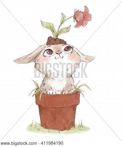 Cute Funny Illustration Of Rabbit In Flower Pot