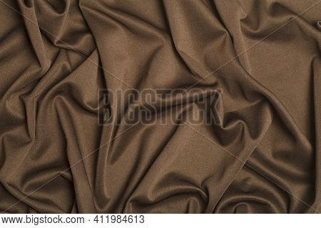 Background Fabric. Brown Textile Fabric With Texture And Pattern Drapery Background