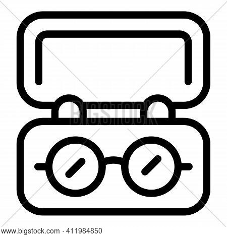 Eyes Lens Case Icon. Outline Eyes Lens Case Vector Icon For Web Design Isolated On White Background