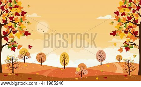 Autumn Landscapes Of Countryside With Orange Sky,panoramic Of Mid Autumn With Farm Field, Mountains,