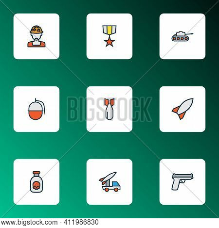 Army Icons Colored Line Set With Artillery, Soldier, Gun And Other Bomb Elements. Isolated Illustrat