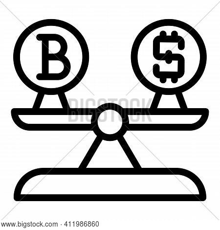 Blockchain Money Scales Icon. Outline Blockchain Money Scales Vector Icon For Web Design Isolated On