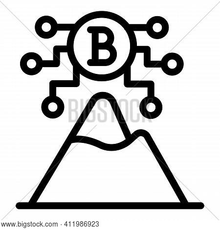 Blockchain Mountain Icon. Outline Blockchain Mountain Vector Icon For Web Design Isolated On White B