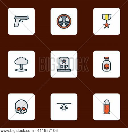 Warfare Icons Colored Line Set With Poison, Medal, Bio Hazard And Other Radioactive Elements. Isolat