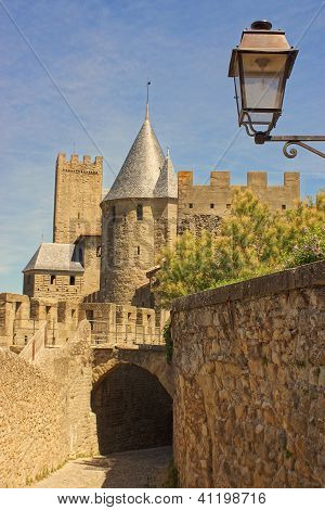 Back Street And Lantern In The Old Town Of Carcassonne, France.