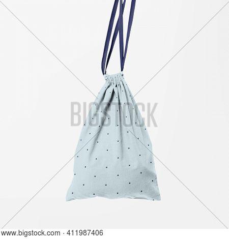 Drawstring pouch bag blue accessory studio shoot