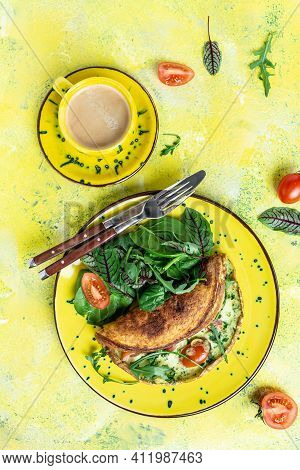 Breakfast. Omelette With Eggs, Cheese And Spinach Salad. Frittata Italian Omelet On A Yellow Plate O