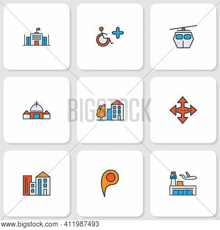City Icons Colored Line Set With Location Pin, Crossroad, Cable Car And Other Parliament Elements. I
