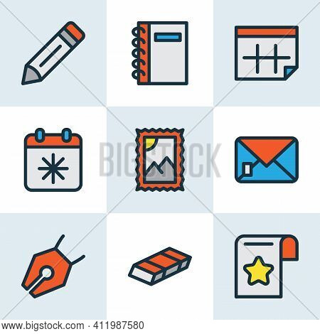 Stationery Icons Colored Line Set With Calendar, Eraser, Pencil And Other Calendar Elements. Isolate