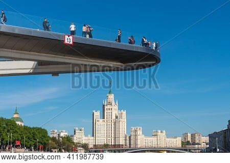 Moscow, Russia, May 7, 2018 - City Landscape, View Of The Observation Deck Of Zaryadye Park And Stal