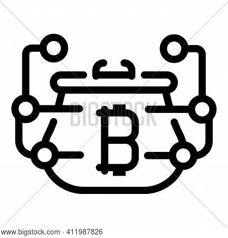 Blockchain Digital Wallet Icon. Outline Blockchain Digital Wallet Vector Icon For Web Design Isolate