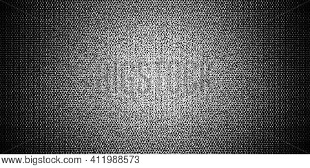 Halftone gradient made of white letters and digits randomly distributed on black background, abstract illustration