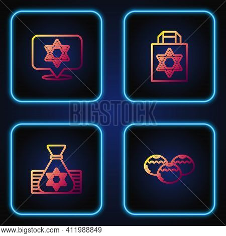 Set Line Jewish Sweet Bakery, Money Bag, Star Of David And Shopping With Star David. Gradient Color